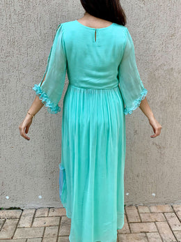 Aqua Blue Long Top with Centre Slit and Pants