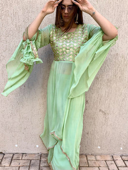 Pista Green Embroidered Long Top and Pants with Potli