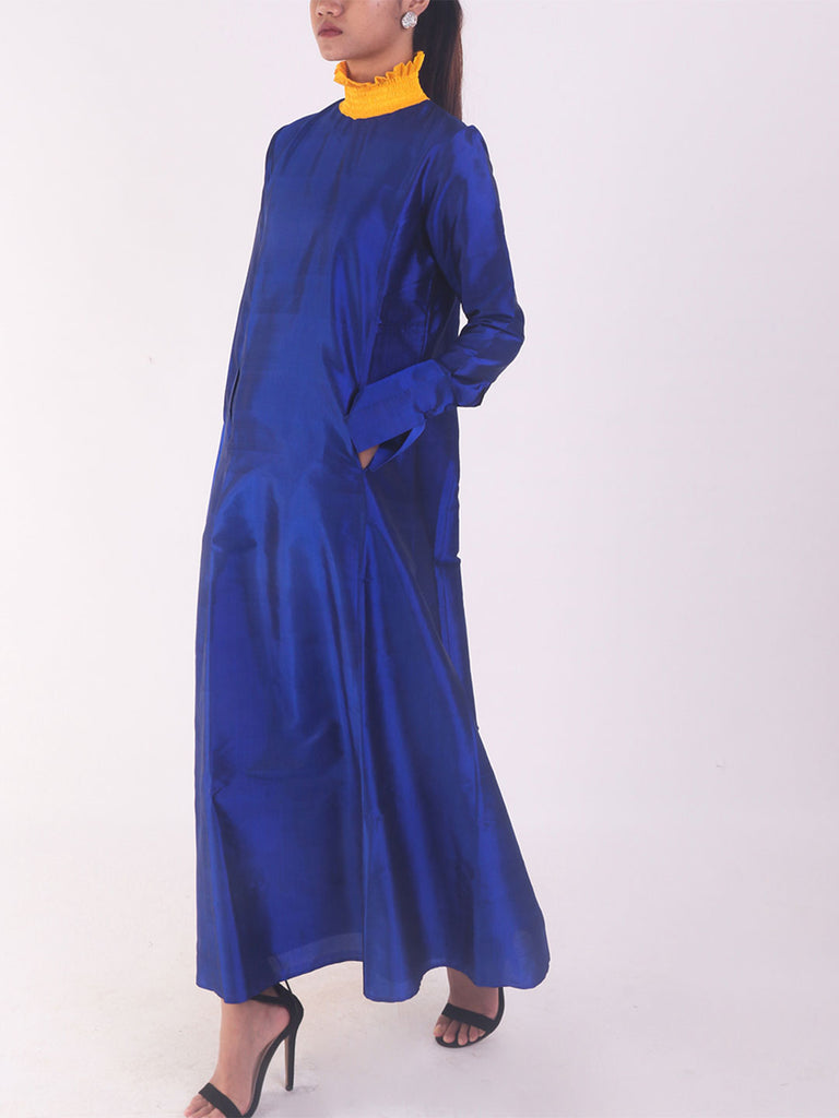 Handwoven Blue Kurta with Ruffle Collar
