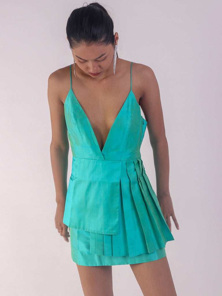 Handwoven Lucite Green Pleated Short Dress
