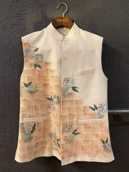 Ivory Bubble Paper Painted Nehru Jacket