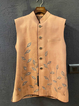 Old Rose Nehru Jacket with Handpainted Leaves