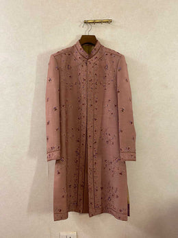Dusty Mauve Placement Embroidered Sherwani Set