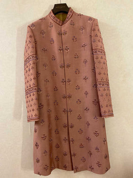 Dusty Mauve All-over Motif Embroidered Sherwani Set