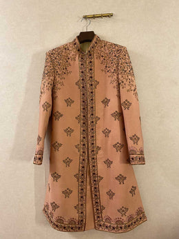 Old Rose Heavily Embroidered Sherwani Set