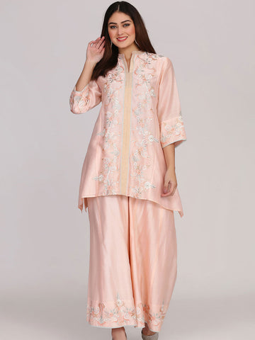 Peach Asymmetrical Tunic with Sharara and Dupatta