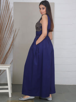 Blue Full Length Cotton Jumpsuit