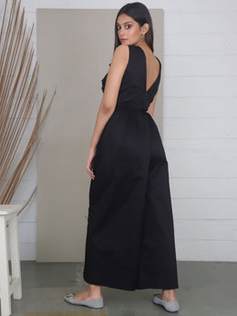 Black Full Length Cotton Jumpsuit