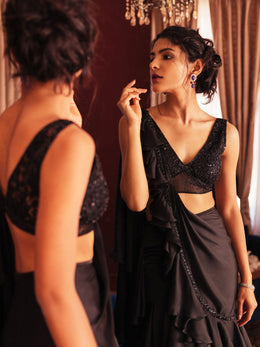 Black Draped Saree with Chantilly Blouse