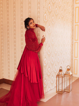 Red Hand Embroidered Gown with Detachable Cape