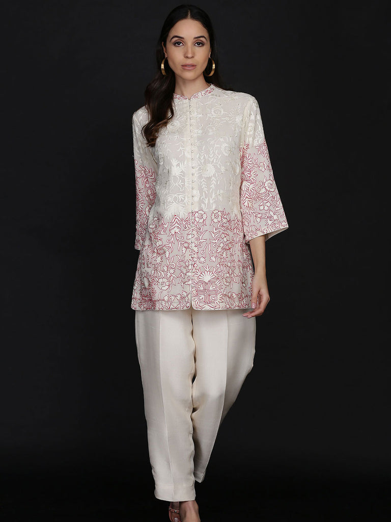 Resham Embroidered Jacket With Cigarette Pants
