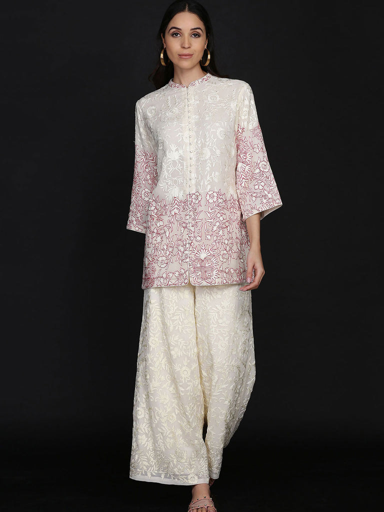 Resham Embroidered Jacket With Wide Leg Pants