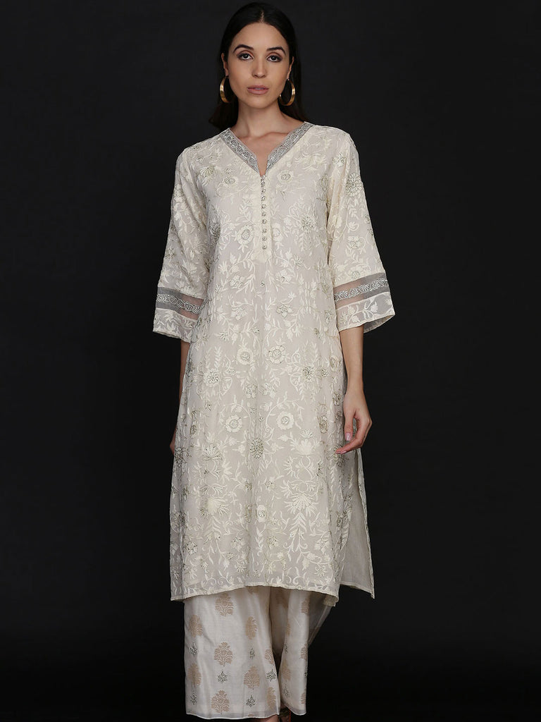 Straight Georgette Tunic with Chanderi Farshi