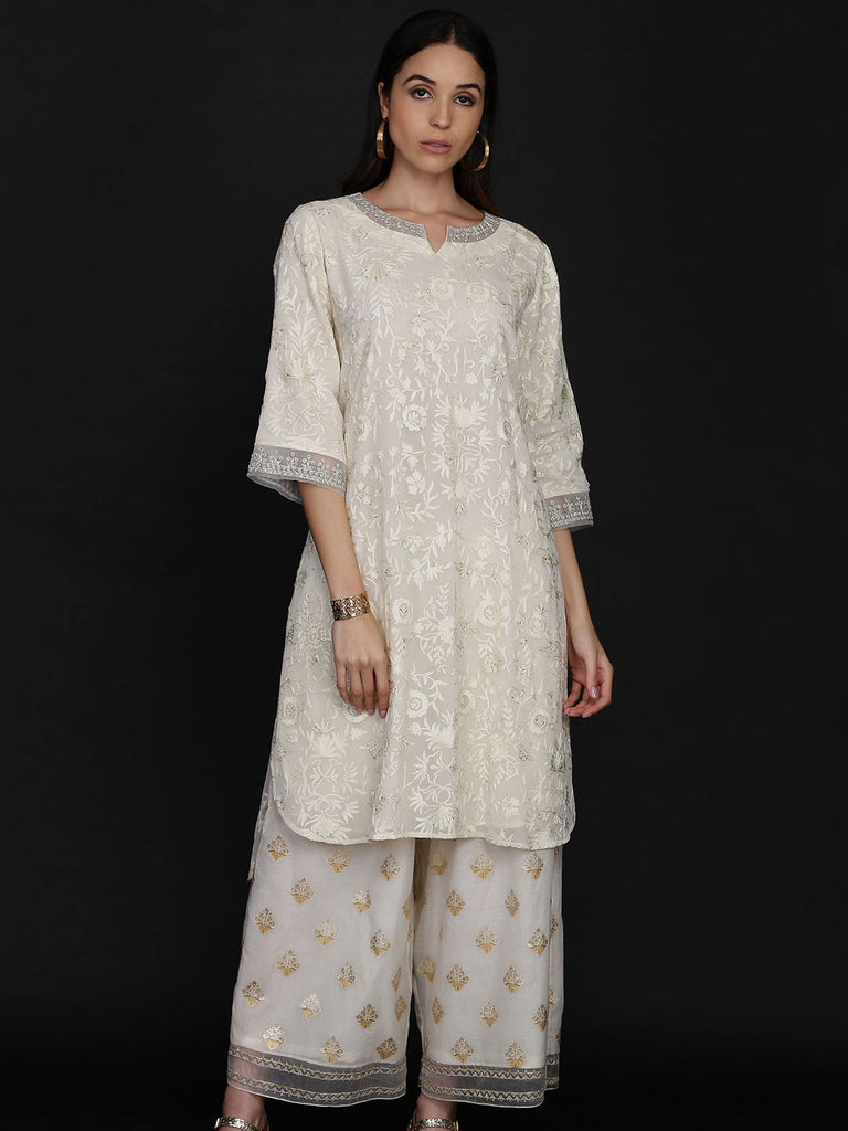 Ivory Georgette Tunic with Chanderi Farshi