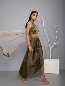 Dark Olive Draped Skirt Suvasi set