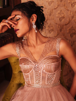 Corset Salmon Pink Hand Embroidered Gown