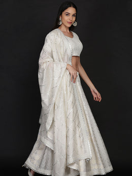 Ivory Lehenga with Blouse and Dupatta