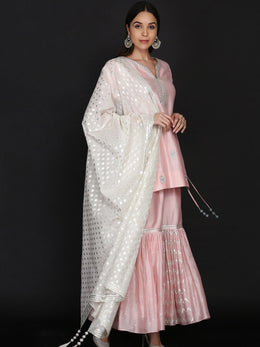 Light Pink Short Tunic with Gharara and Dupatta