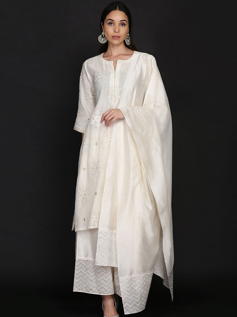 Ivory Silk Tunic With Farshi And Dupatta