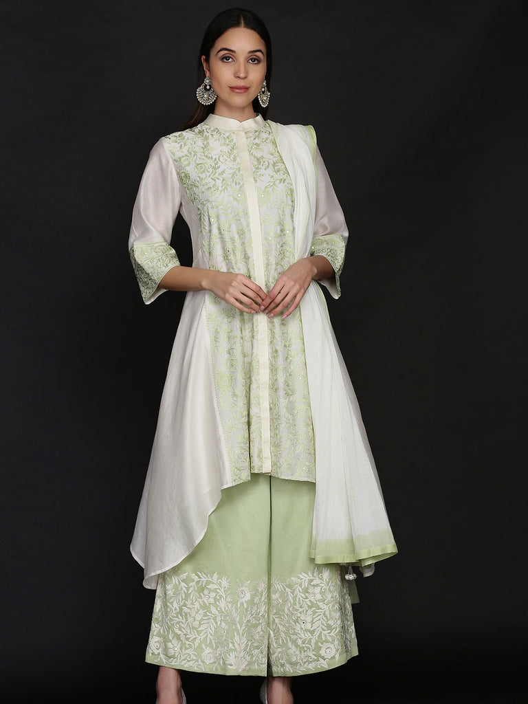 Green Asymmetrical Kurta with Loose Pants and Dupatta
