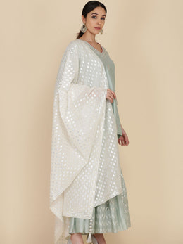 Ice Blue Short Tunic with Gharara and Dupatta