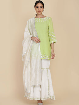 Apple Green Short Tunic with Gharara and Dupatta