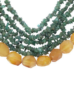 Mica Green Stones Long Necklace