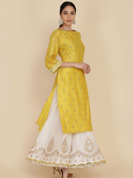 Lime Green Straight Tunic With Embroidered Sharara And Dupatta