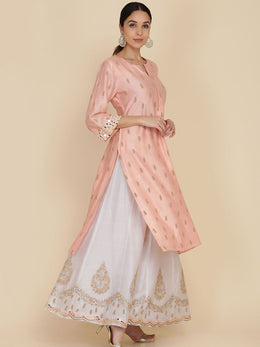 Peach Straight Tunic With Embroidered Sharara And Dupatta