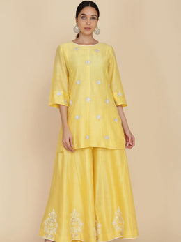 Yellow Short Tunic with Sharara and Embroidered Dupatta