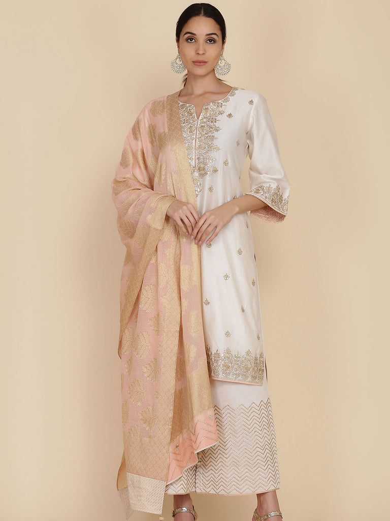 Peach Straight Tunic with Loose Pants and Dupatta