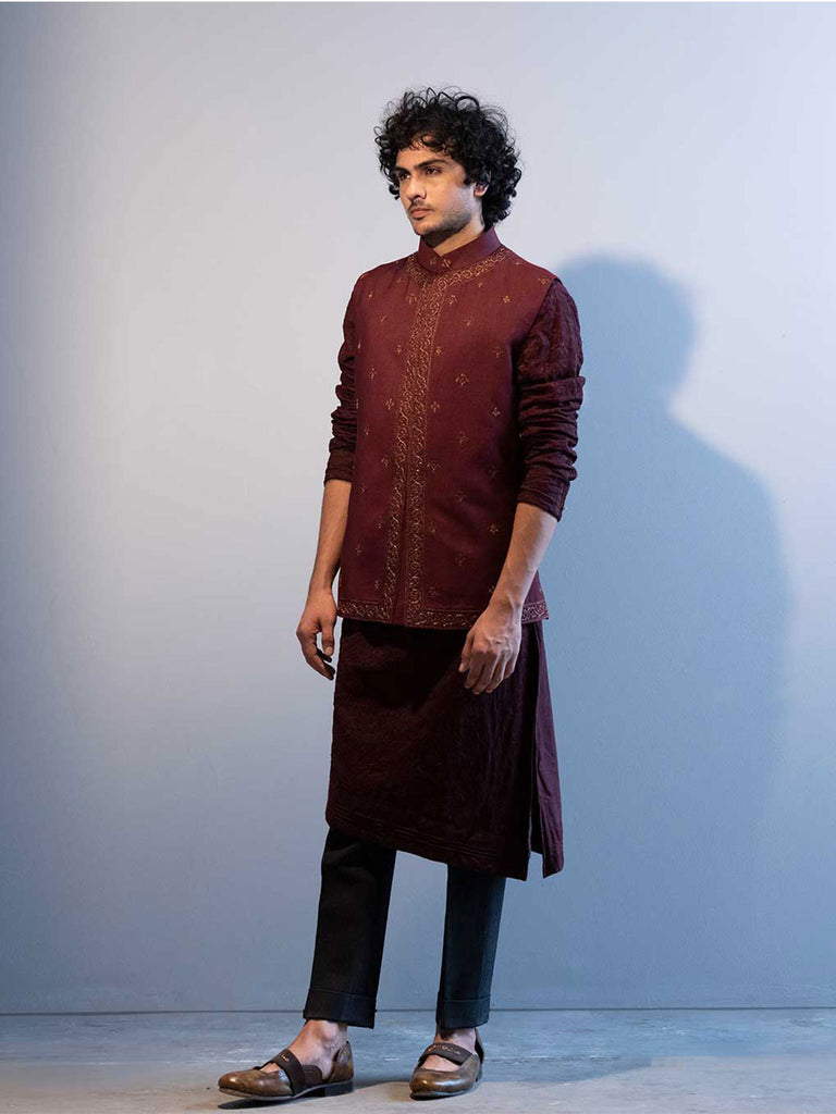 Wine All-over Motif Nehru Jacket