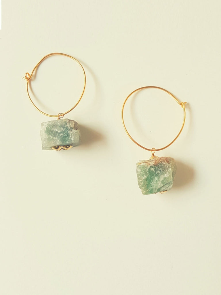 Hoop Earrings with Cubical Jade Stones