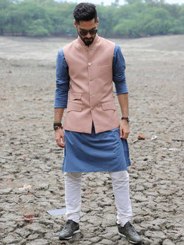 Jaquard Textured Nehru Jacket with Kurta and Churidaar