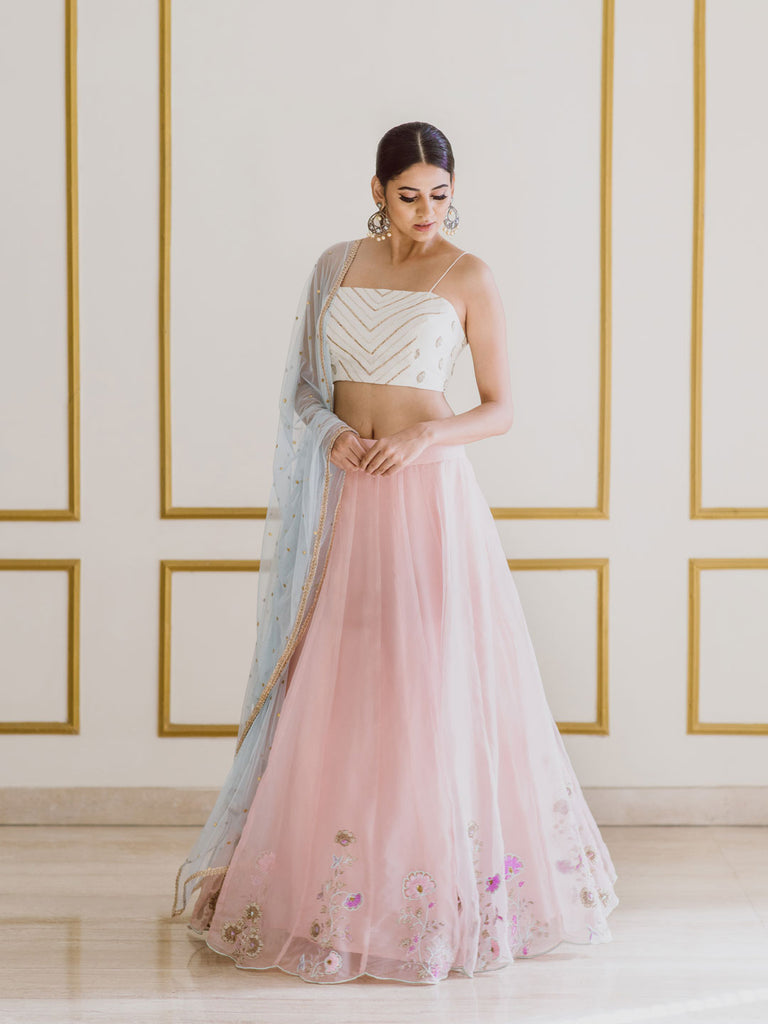 Embroidered Pink Lehenga with White Top and Green Dupatta