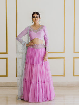 Embroidered Lavender Lehenga Set with Blue Dupatta