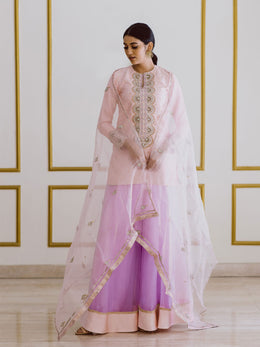 Embroidered Pink Top and Dupatta with Lavender Gharara