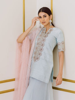 Embroidered Ice Blue Gharara Set with Pink Dupatta