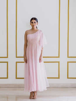 Embroidered One Shouldered Pink Gown with Flared Sleeves