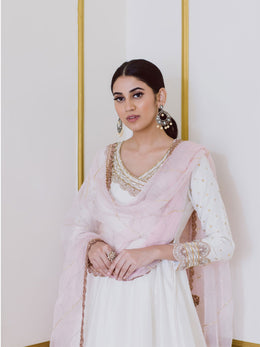 Embroidered White Anarkali with Sharara and Pink Dupatta