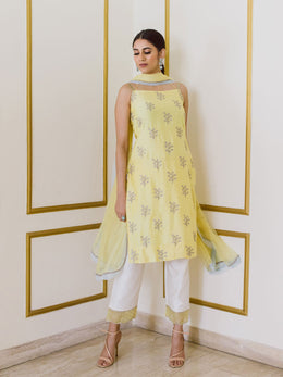 Embroidered Yellow and White Chanderi Kurta Set