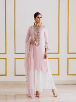 Embroidered Pink Kurta and Dupatta with White Palazzo