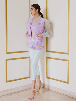 Organza Top with Embroidered Jacket and Cropped Pants
