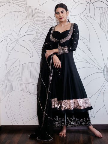 Embroidered Black Anarkali with Palazzo and Dupatta