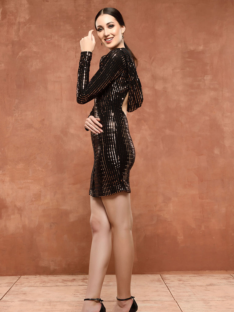 Metallic Hoodie Dress