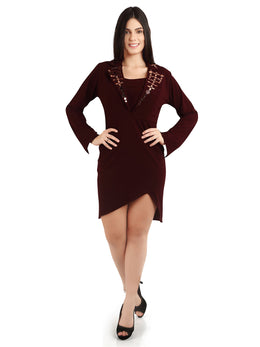 Fitted Maroon Lapel Collar Dress