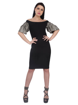 Black Bodycon Dress with Sliver Metallic Sleeves