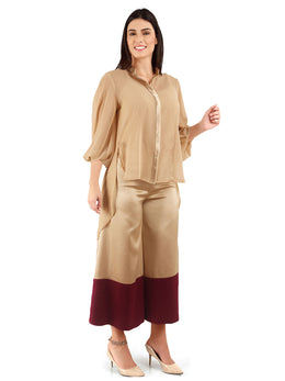 Beige and Maroon Sheer Shirt with Palazzo Pants