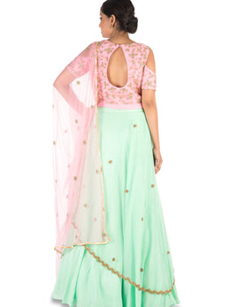 Hand Embroidered Pink and Sea Green Lehenga Set
