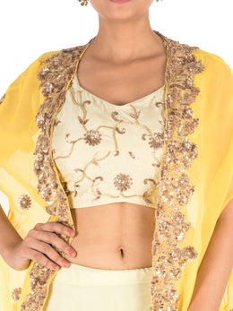 Hand Embroidered Yellow Kaftan Jacket Lehenga Set